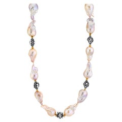 Baroque Pearl Necklace with Silver, 18k and 22k Yellow Gold Accents and Clasp