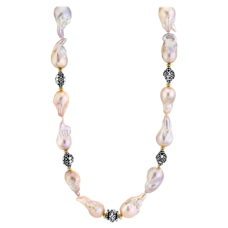 Baroque Pearl Necklace with Silver, 18k and 22k Yellow Gold Accents and Clasp For Sale