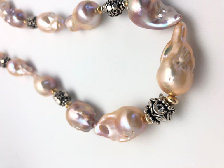 Artisan Baroque Pearl Necklace with Silver, 18k and 22k Yellow Gold Accents and Clasp For Sale