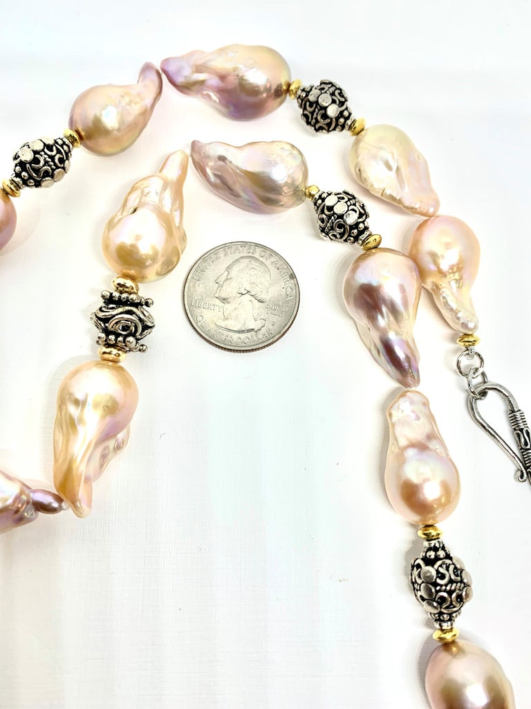 Bead Baroque Pearl Necklace with Silver, 18k and 22k Yellow Gold Accents and Clasp For Sale
