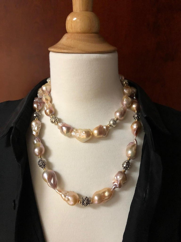 Baroque Pearl Necklace with Silver, 18k and 22k Yellow Gold Accents and Clasp In New Condition For Sale In Los Angeles, CA