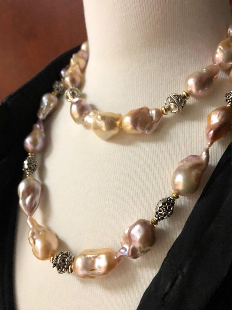 Women's Baroque Pearl Necklace with Silver, 18k and 22k Yellow Gold Accents and Clasp For Sale