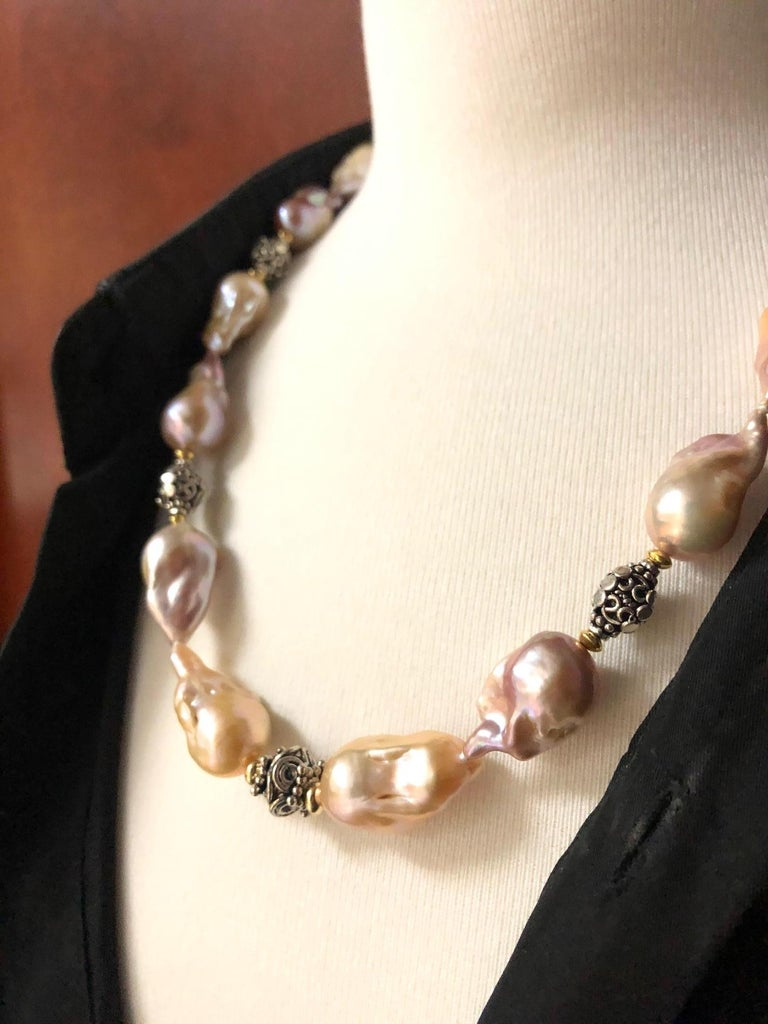 Baroque Pearl Necklace with Silver, 18k and 22k Yellow Gold Accents and Clasp For Sale 1