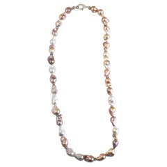 Baroque Pearl Necklace with White Sapphire Clasp