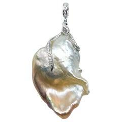 Baroque Pearl Pendant with Diamonds 0.25 Carat 14 Karat Gold