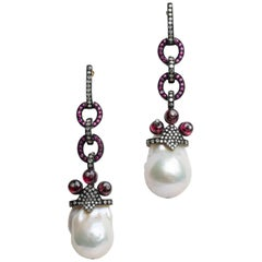 Baroque Pearl, Ruby and Diamond Dangle Rhodium Earrings