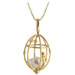 Ico & the Bird Baroque Pearl, Ruby, Diamonds 'Caged Bird' Pendant 18k Gold