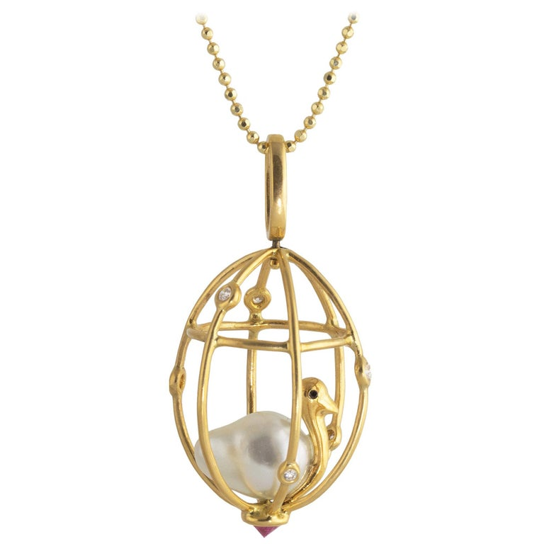 Ico & the Bird Baroque Pearl, Ruby, Diamonds 'Caged Bird' 18k Gold Pendant For Sale