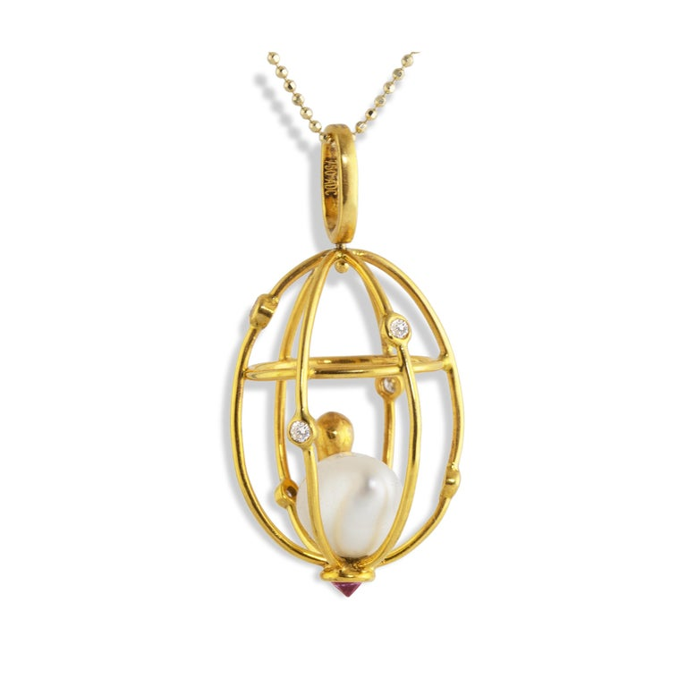 Contemporary Ico & the Bird Baroque Pearl, Ruby, Diamonds 'Caged Bird' 18k Gold Pendant For Sale