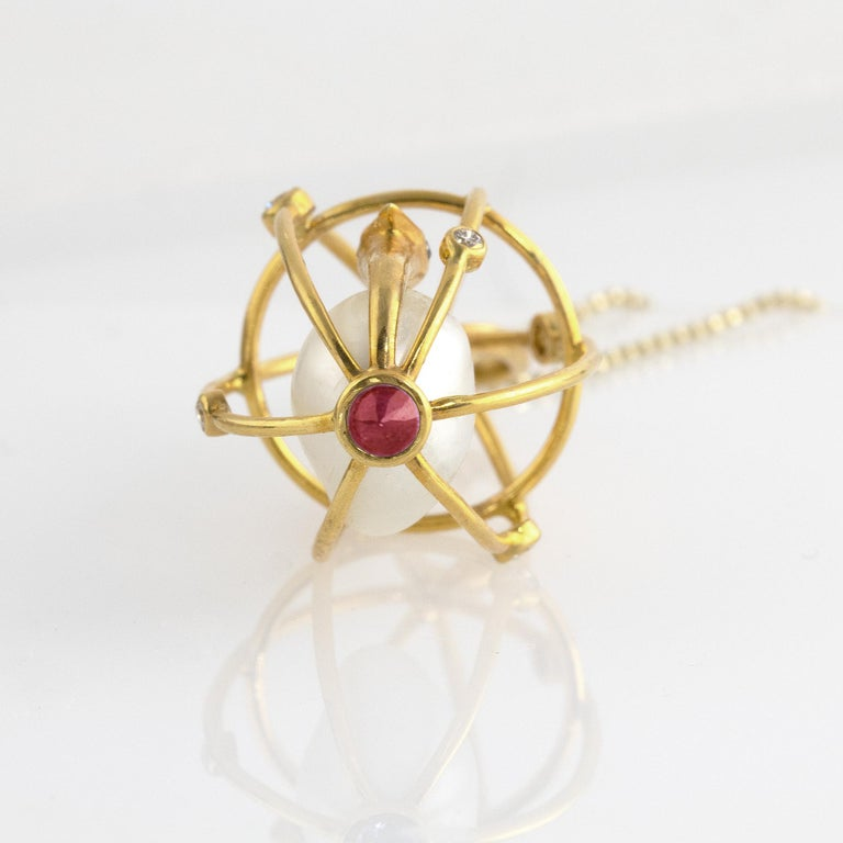 Brilliant Cut Ico & the Bird Baroque Pearl, Ruby, Diamonds 'Caged Bird' 18k Gold Pendant For Sale