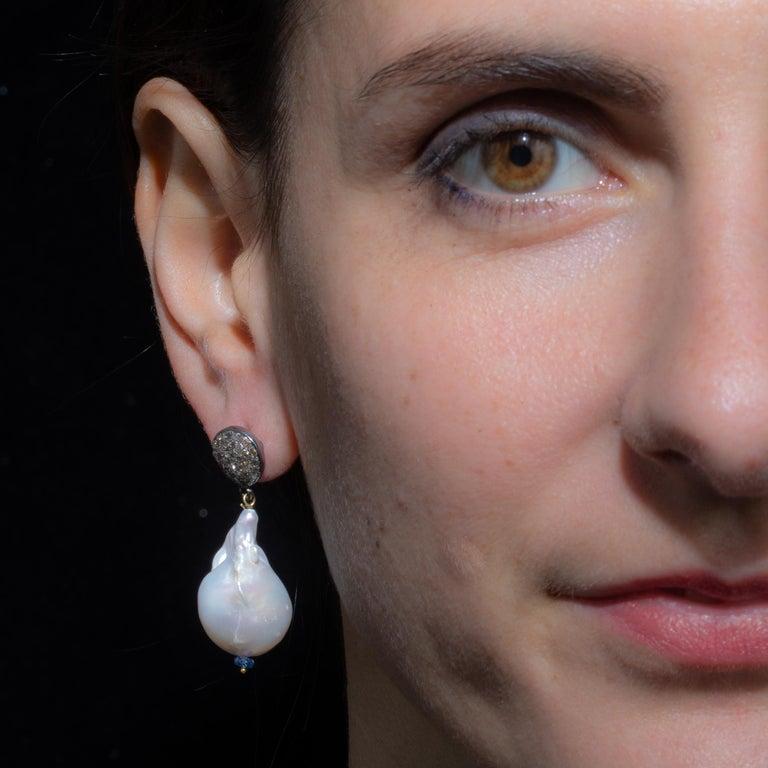 Round Cut Baroque Pearl, Tanzanite and Diamond Drop Earrings by Deborah Lockhart Phillips For Sale