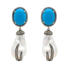 Baroque Pearl, Turquoise, and Diamond Drop Earrings in Victorian Style