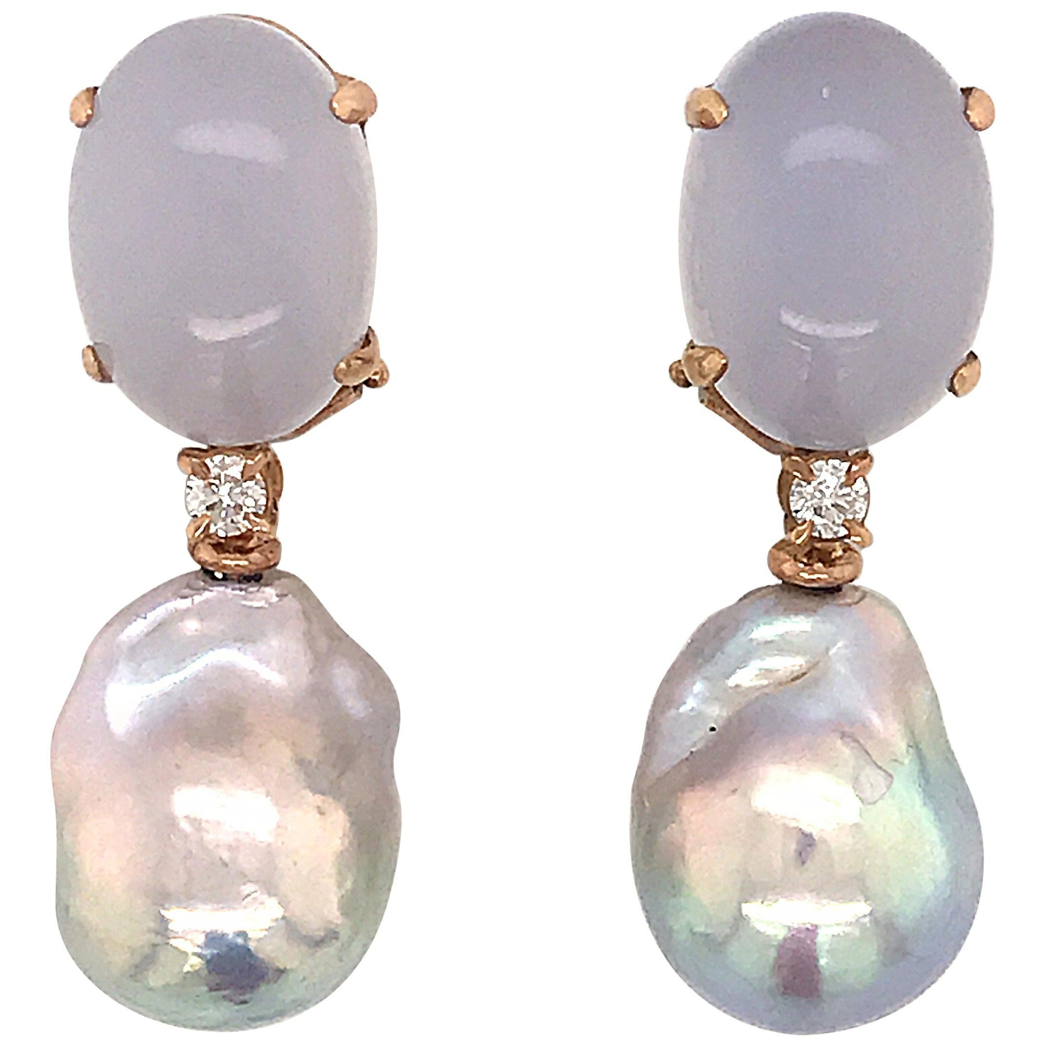Baroque Pearl with Diamonds and Calcedony on Rose Gold 18 Karat Dangle Earrings