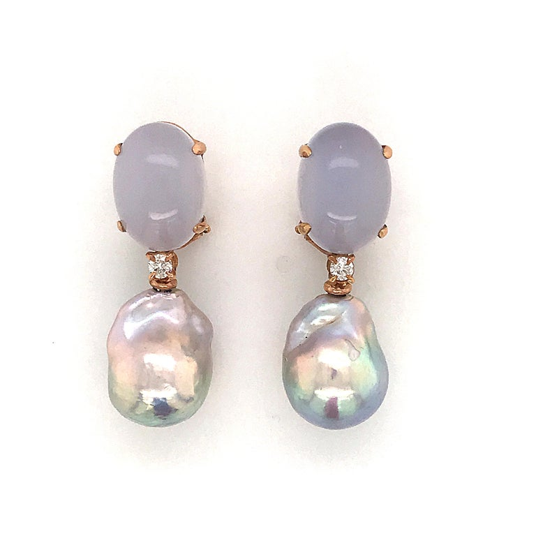 Baroque Pearl with Diamonds and Calcedony on Pink Gold 18K Dangle Earrings 2 Natural Baroque Pearl  2 Diamonds 0.14 ct  2 Calcedony  Pink Gold 18 KT Weight / 5 grams
