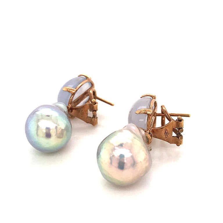 Contemporary Baroque Pearl with Diamonds and Calcedony on Rose Gold 18 Karat Dangle Earrings