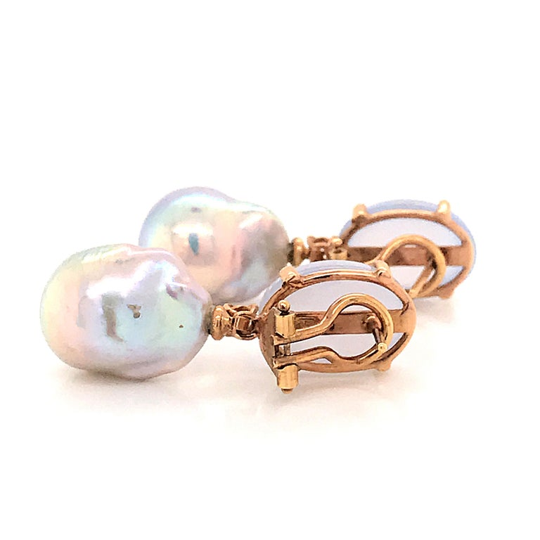 Baroque Pearl with Diamonds and Calcedony on Rose Gold 18 Karat Dangle Earrings In New Condition In Vannes, FR