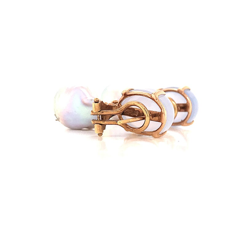 Baroque Pearl with Diamonds and Calcedony on Rose Gold 18 Karat Dangle Earrings 1