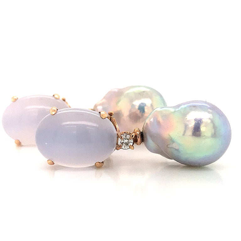 Baroque Pearl with Diamonds and Calcedony on Rose Gold 18 Karat Dangle Earrings 3