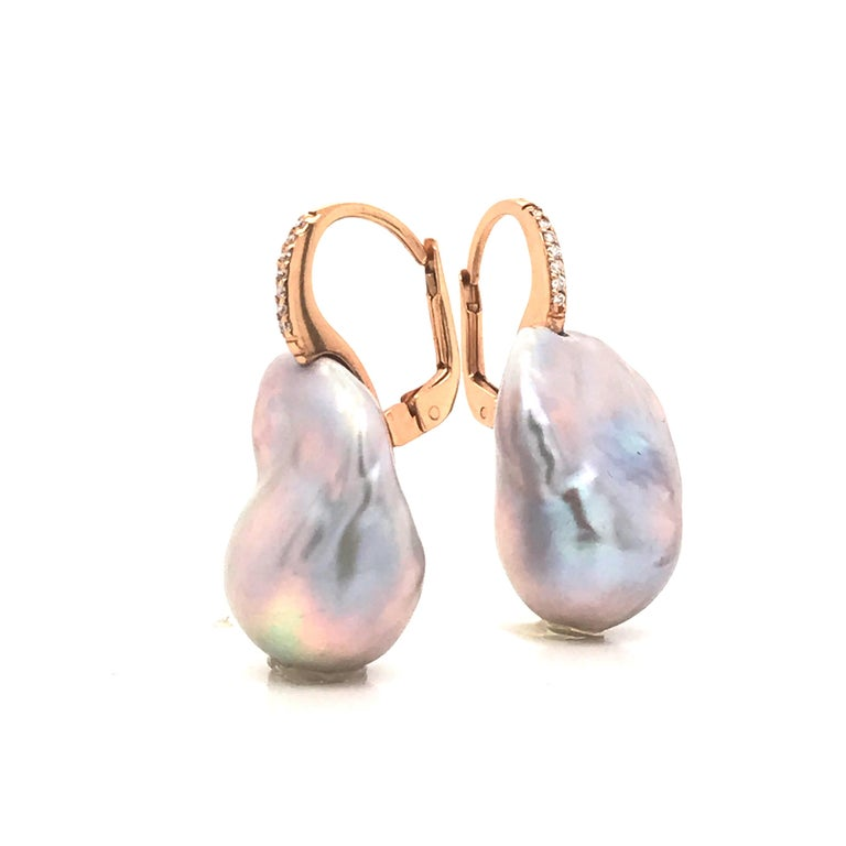 Baroque Pearl with White Diamond on Rose Gold 18 Karat Drop Earring In New Condition For Sale In Vannes, FR