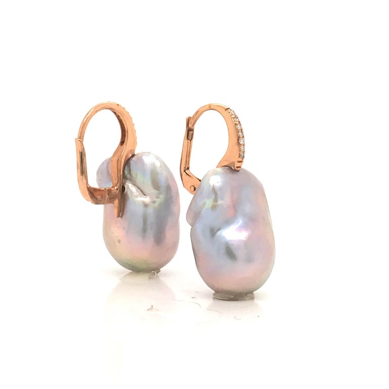 Women's Baroque Pearl with White Diamond on Rose Gold 18 Karat Drop Earring For Sale