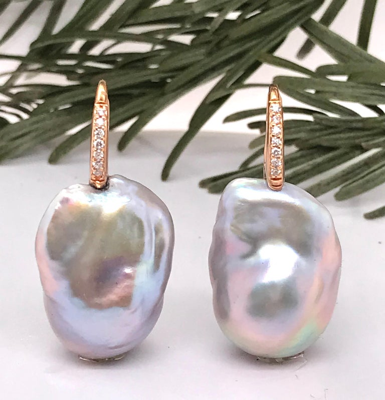 Baroque Pearl with White Diamond on Rose Gold 18 Karat Drop Earring For Sale 3