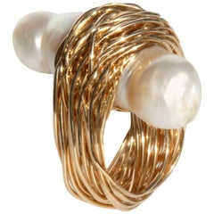 One-of-a-Kind Baroque Pearl in Yellow Gold Wire Statement Cocktail Ring
