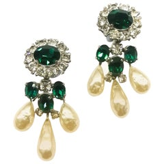 Baroque pearl,emerald paste drop earrings, Christian Dior by Mitchel Maer, 1950s