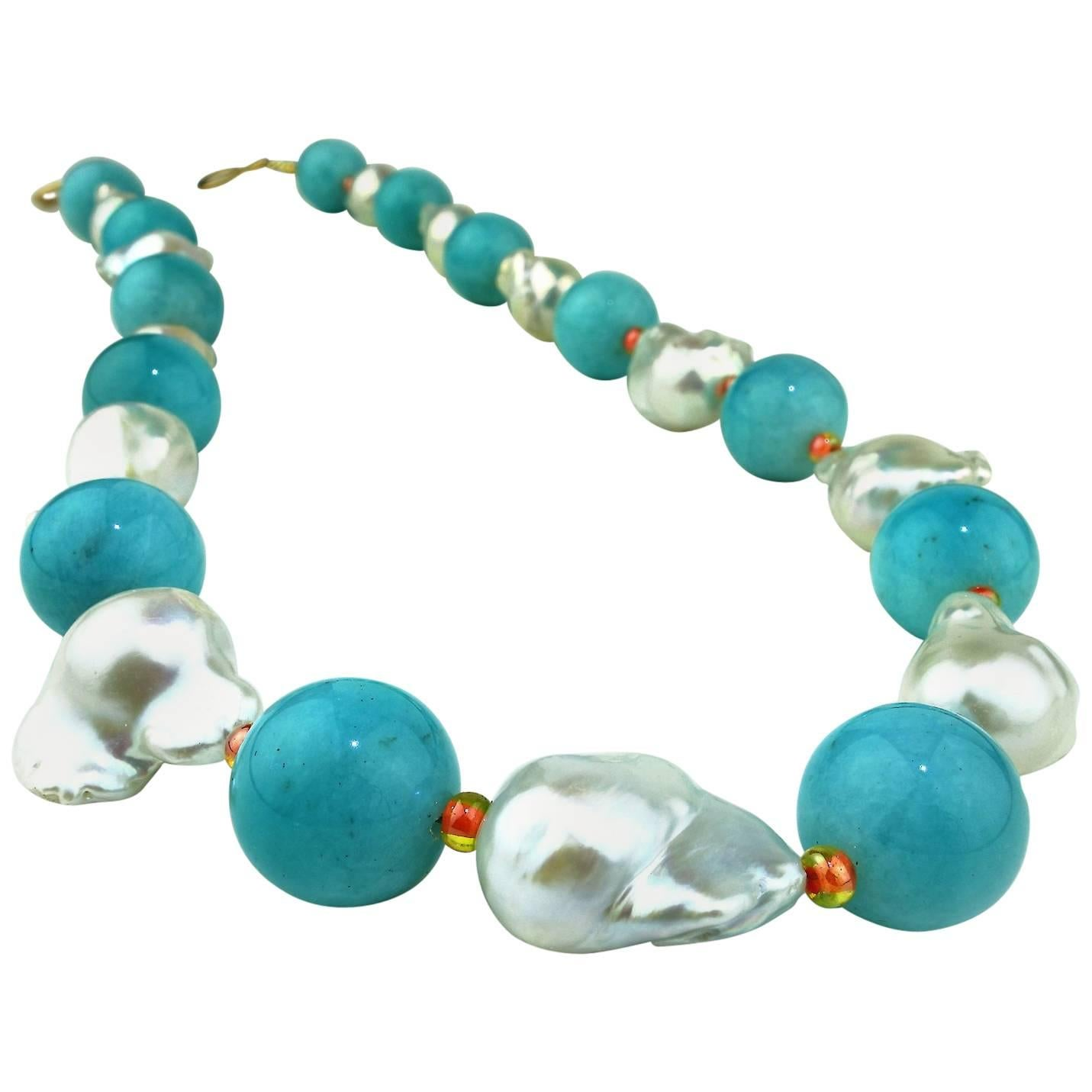 Gemjunky Summer Baroque Pearls, Amazonite and Orange Czech Beads Necklace