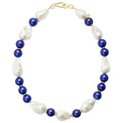 Baroque Pearls and Lapis Lazuli beads with 18 Karat Gold Diamond Rondelles