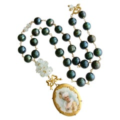 Baroque Pearls, Aquamarine and Hand Painted Porcelain Pendant Necklace
