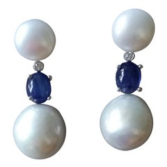 Baroque Pearls Blue Sapphire Cabochon Diamonds White Gold Dangle Earrings