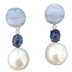 Baroque Pearls Blue Sapphire Chalcedony Gold Diamonds Dangle Earrings