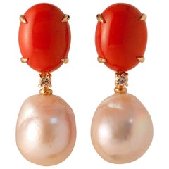 Baroque Pearls Coral and Diamonds Yellow Gold Earrings