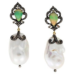 Baroque Pearls Opals Diamonds Drop Earrings