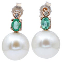 Baroque Pearls, Diamonds, Emeralds, 14 Karat Rose Gold Beaded Earrings