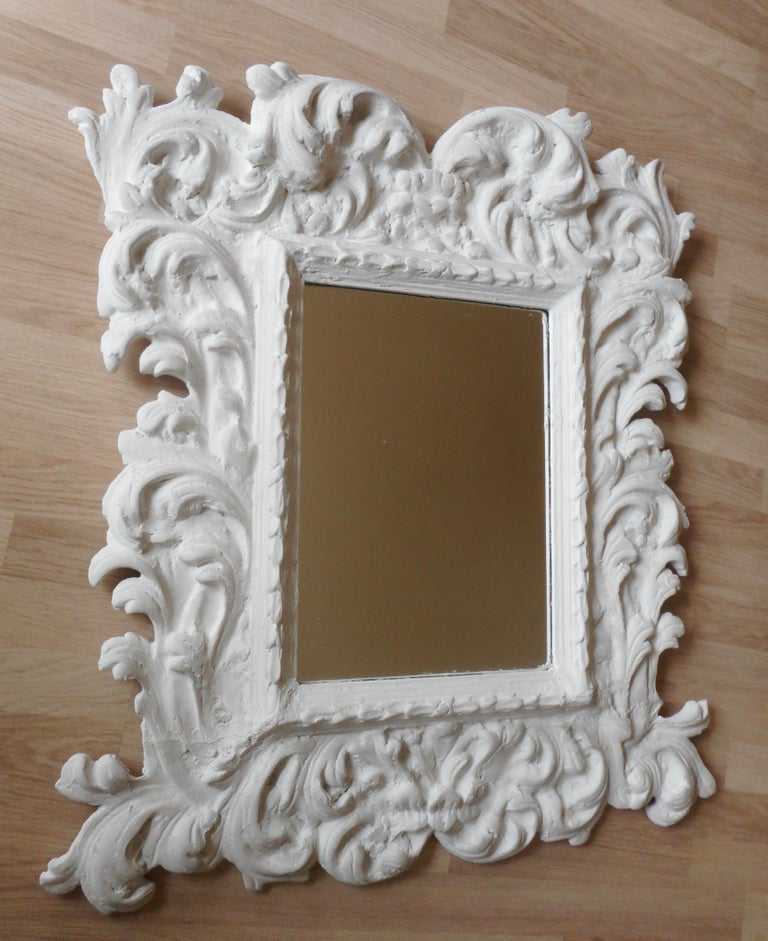 20th Century Baroque Plaster Mirror in the Style of Serge Roche, France, 1950 For Sale