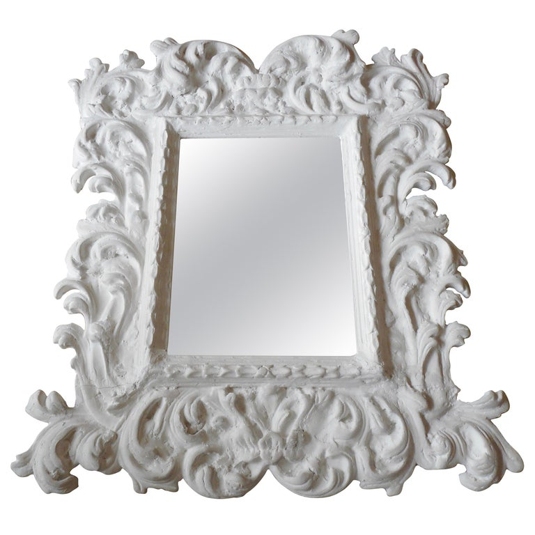 Baroque Plaster Mirror in the Style of Serge Roche, France, 1950 For Sale