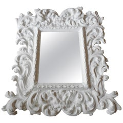 Baroque Plaster Mirror in the Style of Serge Roche, France, 1950