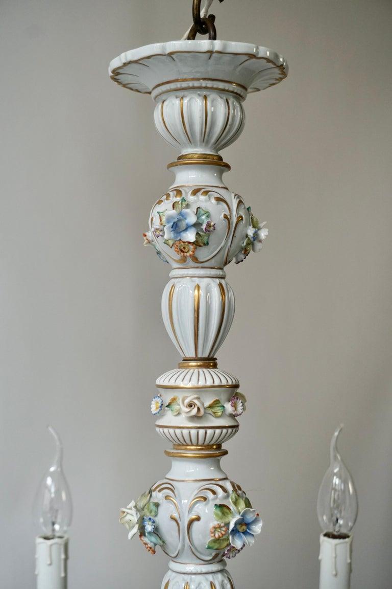 Baroque Porcelain Flower Chandelier or Candelabra, Italy For Sale 2