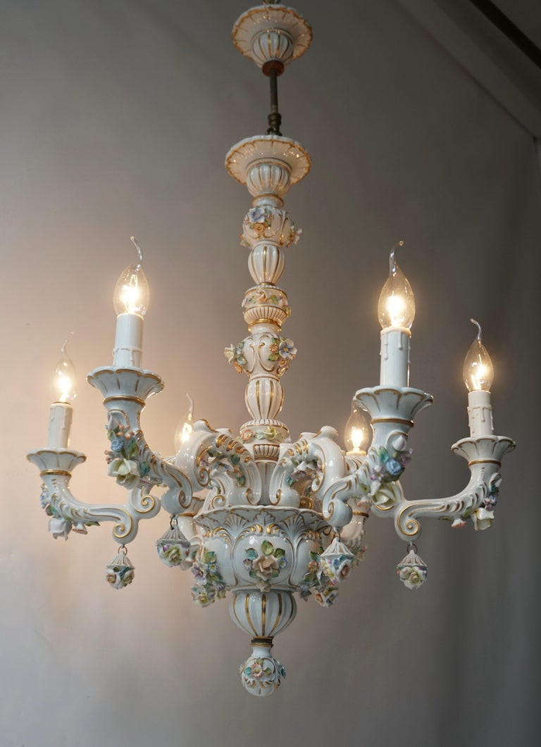 Hollywood Regency Baroque Porcelain Flower Chandelier or Candelabra, Italy For Sale