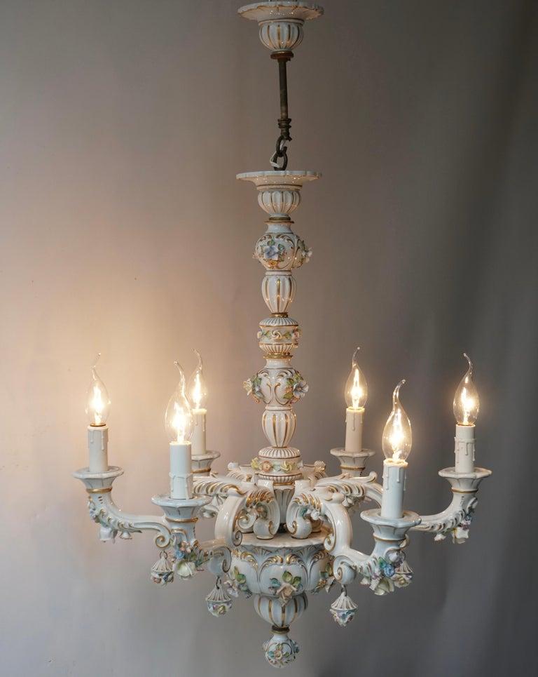 Italian Baroque Porcelain Flower Chandelier or Candelabra, Italy For Sale