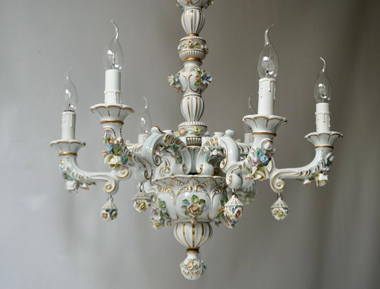 Hand-Painted Baroque Porcelain Flower Chandelier or Candelabra, Italy For Sale