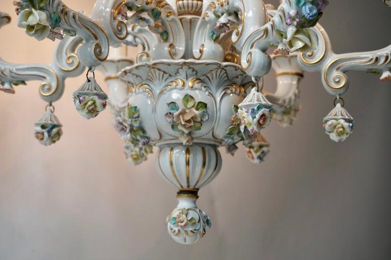 20th Century Baroque Porcelain Flower Chandelier or Candelabra, Italy For Sale