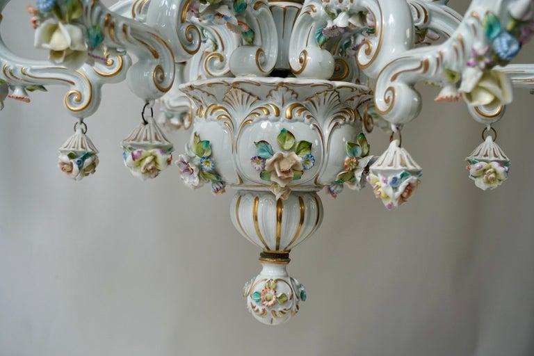 Brass Baroque Porcelain Flower Chandelier or Candelabra, Italy For Sale