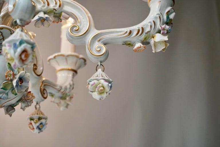 Baroque Porcelain Flower Chandelier or Candelabra, Italy For Sale 1