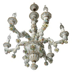 Baroque Porcelain Flower Chandelier or Candelabra, Italy