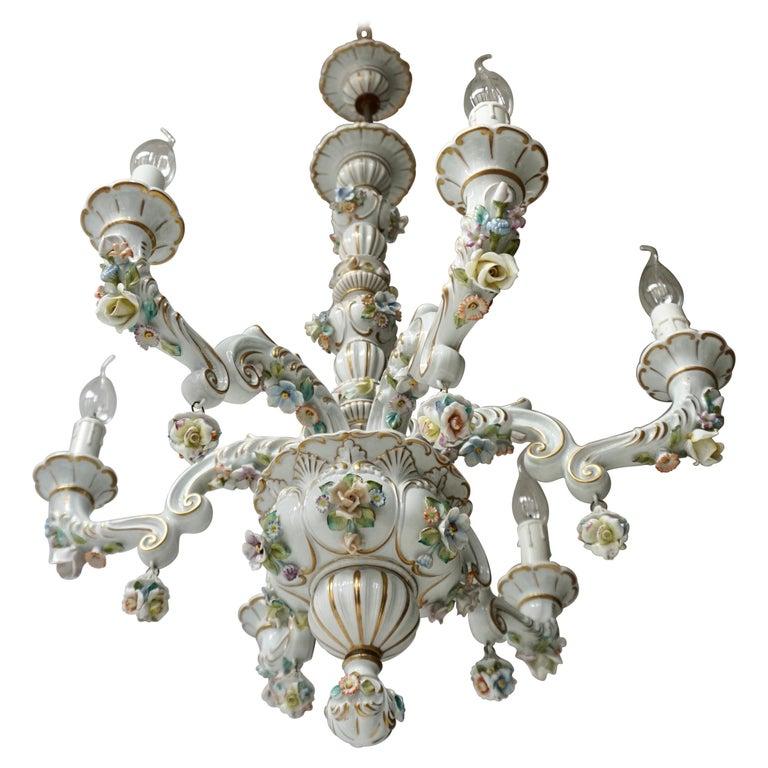 Baroque Porcelain Flower Chandelier or Candelabra, Italy For Sale