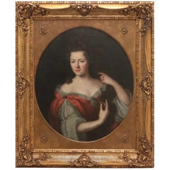Baroque Portrait of an English Lady from the 18th Century in Gilded Frame