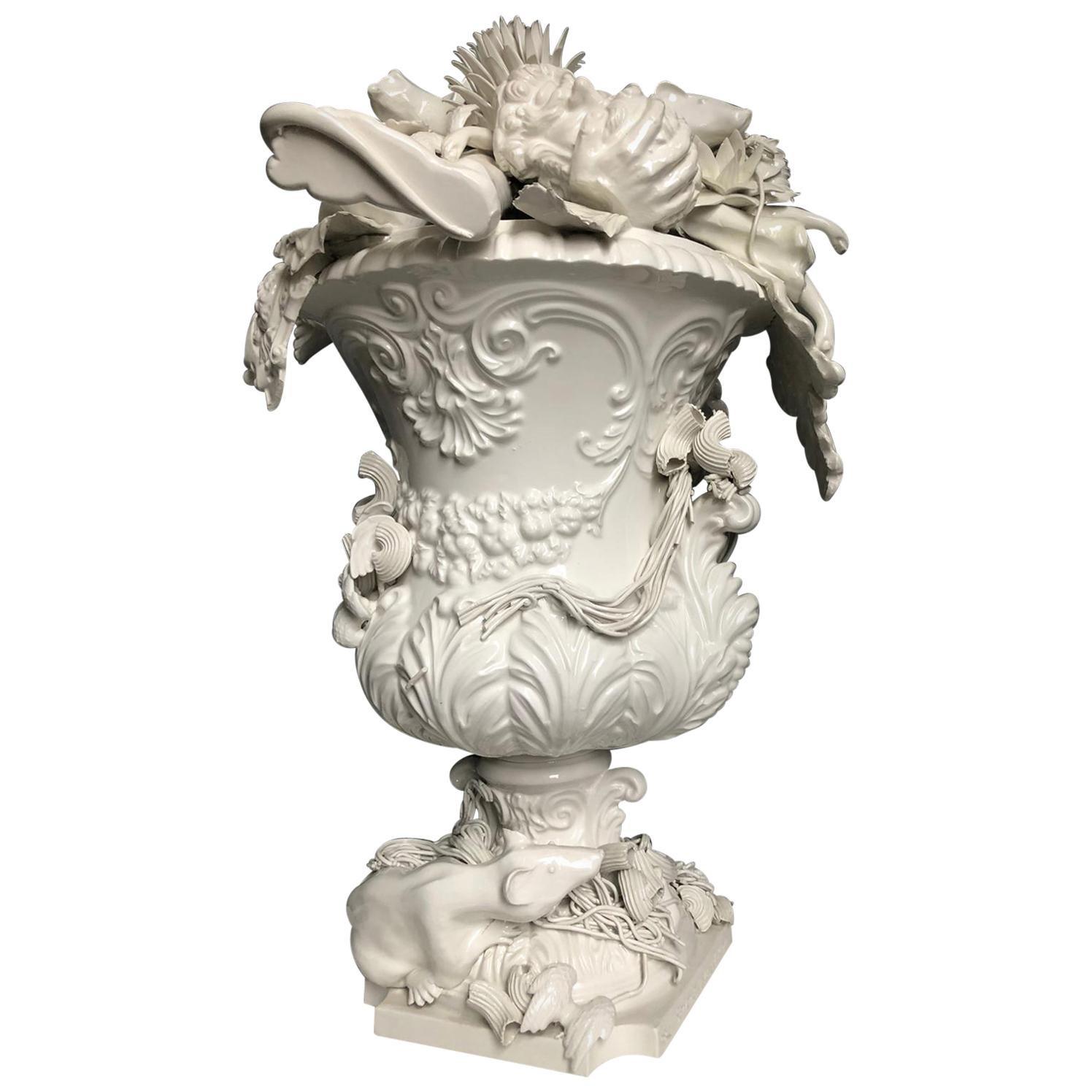 Baroque Rain White Ceramic Sculpture Glazed Earthenware Contemporary