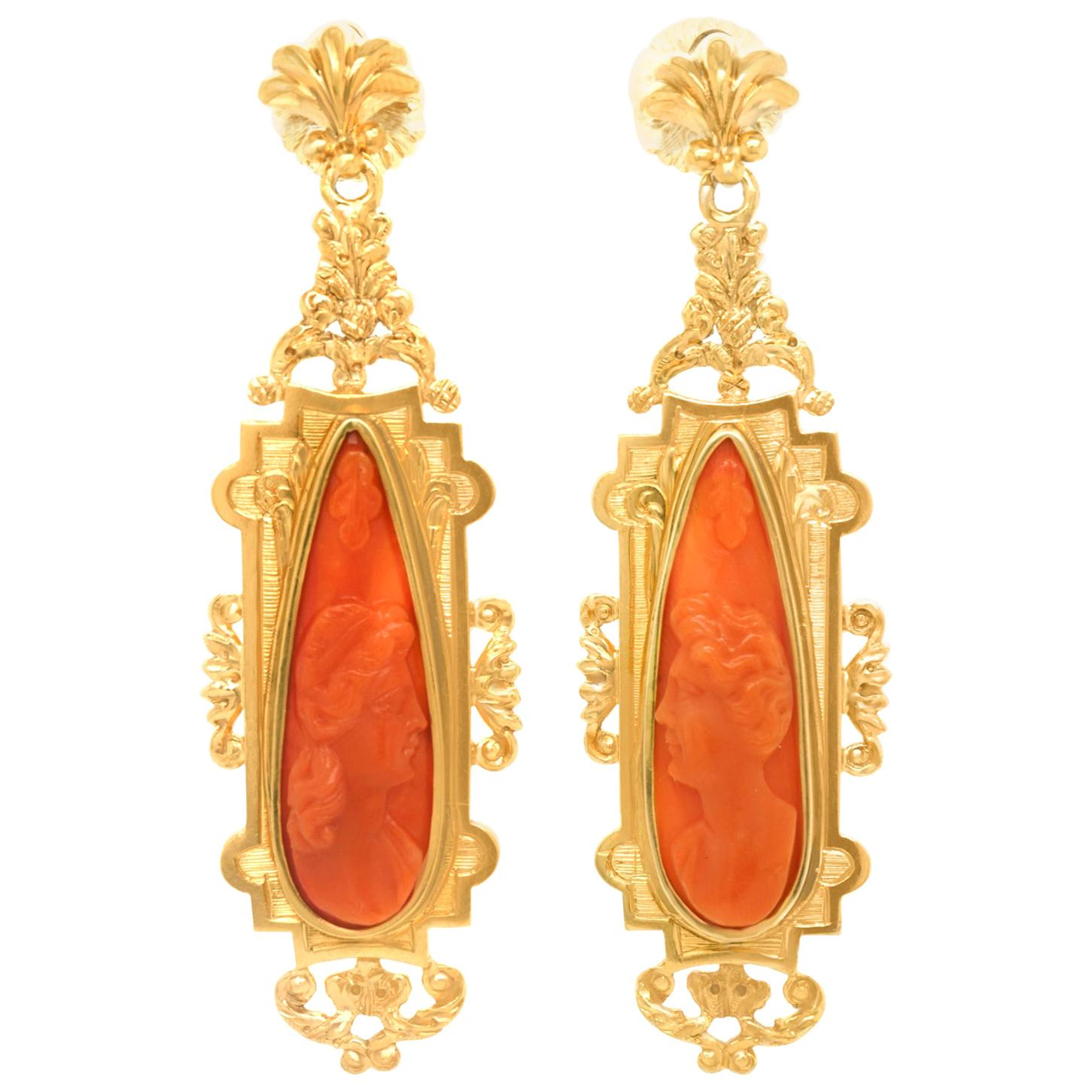Antique Baroque Revival Coral Cameo Chandelier Earrings
